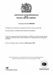 CJ Electrical Contracting Services Ltd Incorporation Certificate
